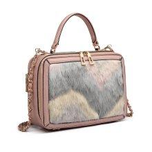 0e48985ba4 Miss Lulu Fluff Ornament Women Leather Handbag Shoulder Bag Top-handle Tote  Pink