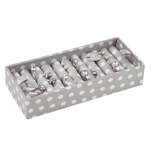 STACKERS ACCESSORY Grey Polka Dot Ring Holder for Duck Egg Blue Stacker Jewellery Boxes