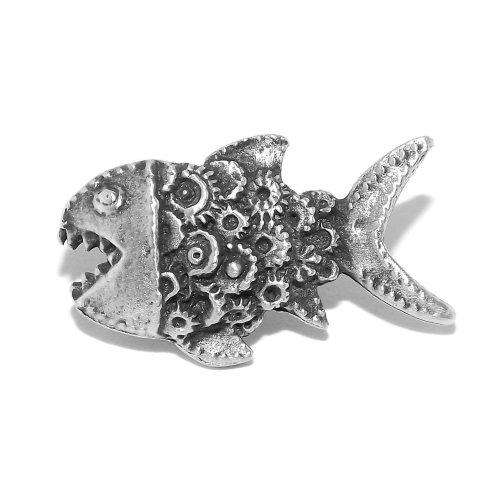 Small Steampunk Cog Fish Pewter Pin Badge / Brooch