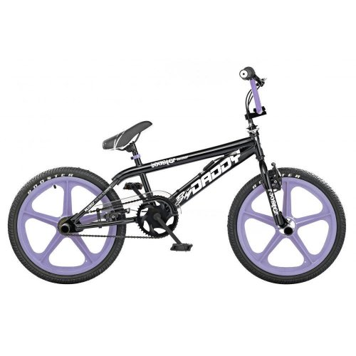 "Rooster Big Momma Girls Freestyle BMX Gyro Bike - Black/Pink 20"" Skyway Mag Wheels, 6-Spoke"