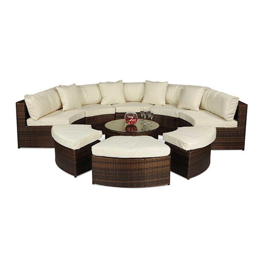 Monaco Rattan Large Semi Circle Sofa Garden Furniture Set