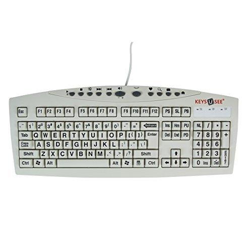 AbleNet Large Print USB Computer Keyboard for Visually Impaired Individuals YKB LPI USB