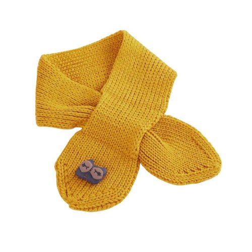 Cute Owl Knitted Baby Scarf Winter Neck Warmer-Yellow