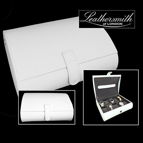 Leathersmith of London® LIMITED EDITION Genuine White Bonded Leather 10 Watch Dome Storage Case Organiser Box with Grey Interior