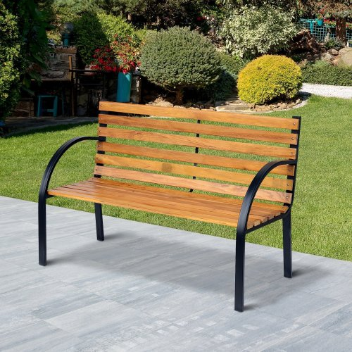 Outsunny 2 Seater Wooden Garden Bench Park Love Chair Outdoor Furniture