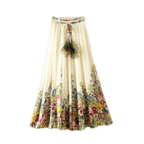 Flower Vine Pattern Summer Chiffon Skirt Large Swing Skirts Fairy Skirt