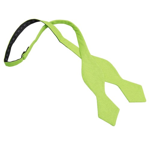 Lime Green Hopsack Linen Pointed Self Tie Bow Tie