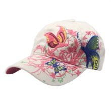 Butterfly and Flower Han Style Hat Lady's Sun Hat Baseball Cap Cream-coloured