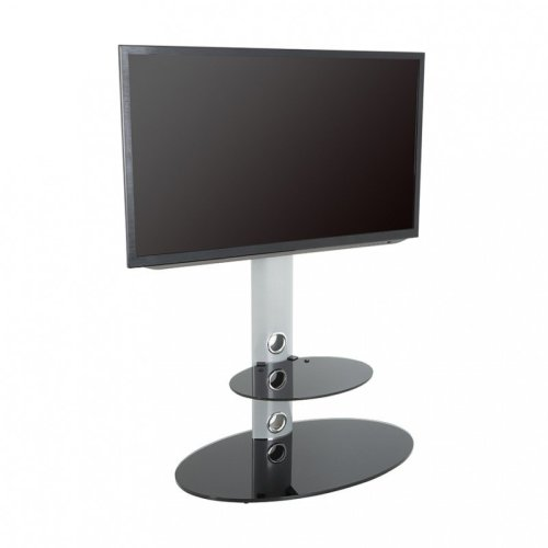 """King Cantilever TV Stand with Brackets, Silver, Oval Base, TVs up to 60"""""""