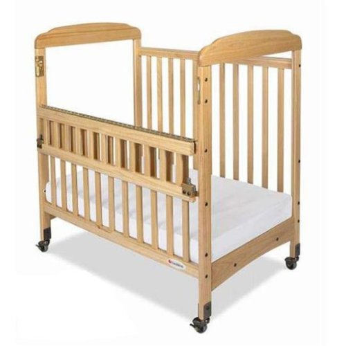Foundations 1743040 Foundations Serenity Compact SafeReach Crib Natural with Adjustable Mattress Board  Mirror