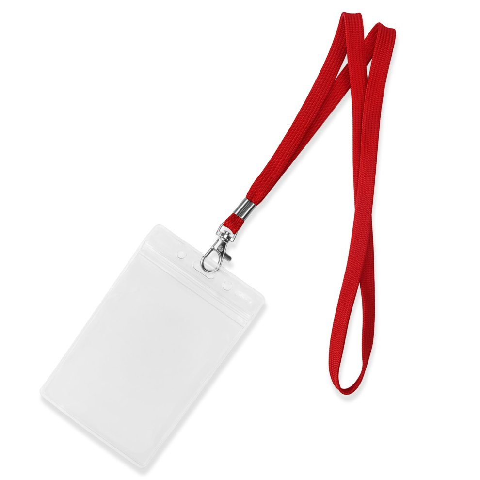 Fushing 100pcs 45cm Neck Strap Lanyard With Swivel Clasp For ID Cards,  Badges, Keys, Employees, Students, Visitors, etc (Red)