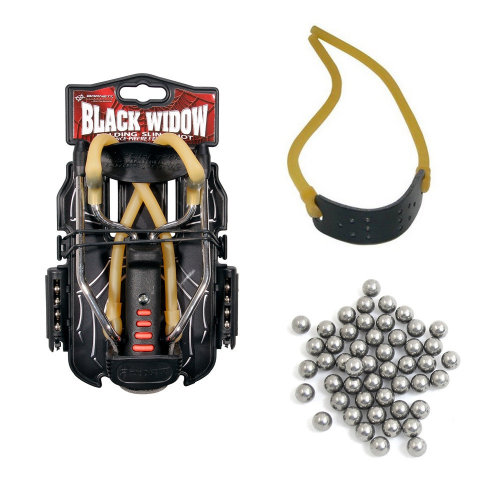 Genuine BARNETT BLACK WIDOW catapult starter pack - slingshot, ammo and elastic
