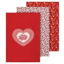 Red Daisy Tea Towels, Set Of 3