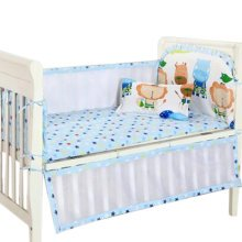 Set of 4 Nursery Baby bassinet/Crib Bedding Bumper Kids Safety Cushion Blue Animals