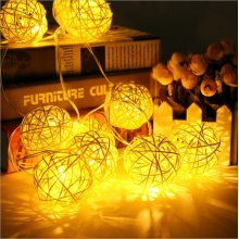 20LED Rattan Wedding Party Garden Festival Ball String Lights