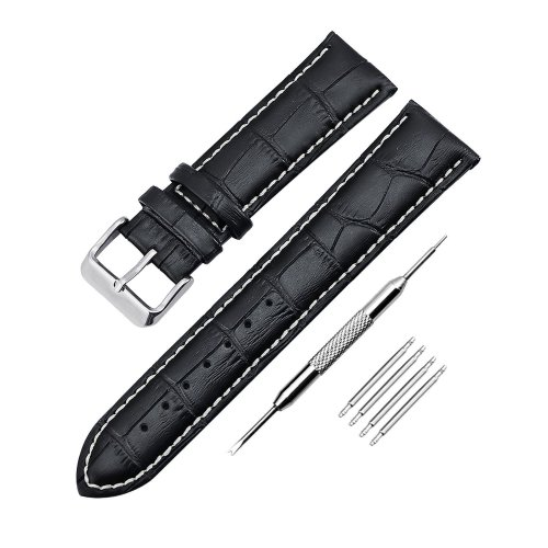 KZKR Waterproof 18mm 20mm 22mm Genuine Leather Watch Band with Watch Strap Spring Bar Repair Tools (22mm, Black)