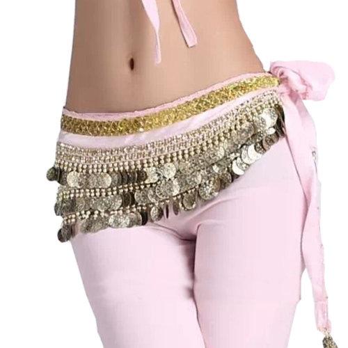 Pink Belly Dance Scarf With Gold Coins Belt Velvet Skirt