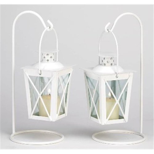 Zingz & Thingz 57070766 White Railroad Candle Lanterns