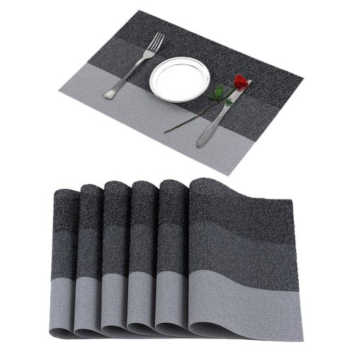 Famibay Set Of 6 Placemats Vinyl Dining Table Mats Non Slip Washable Place For Kitchen Grey