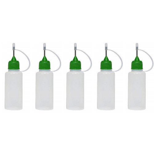 5 x 10ml Needle Tip Squeezable Dropper Bottle (Green)