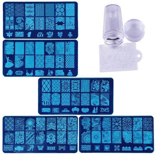 Biutee 5pcs Nail Stamping Plates + 1 Stamper + 1 Scraper Lace Flower Animal Pattern Nail Art Stamp Stamping Template Image Plate Nail Art Stamper...