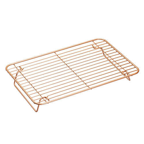 KitchenCraft MasterClass Smart Ceramic Non-Stick Folding Metal Roasting/Cooling Rack, Copper Finish, 35 x 22 cm