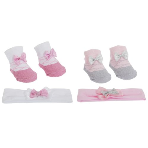 Baby Girls Glitter Bow Topped Little Angel Socks/Headband Gift Set