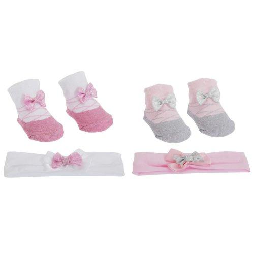 Baby Girls Glitter Bow Topped Little Angel Socks/Headband Gift Set