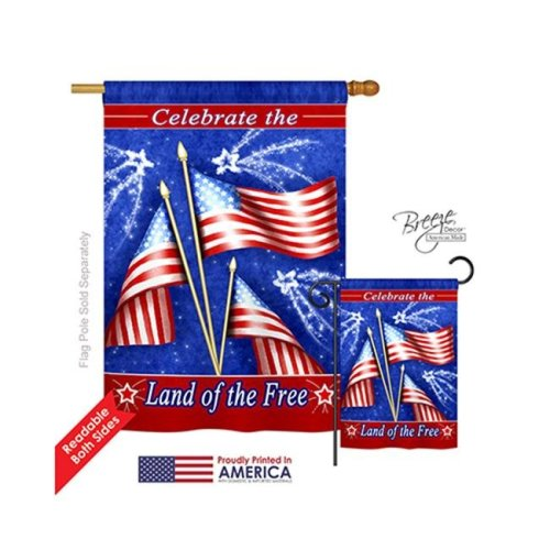 Breeze Decor 11057 Fourth of July Celebrate Freedom 2-Sided Vertical Impression House Flag - 28 x 40 in.