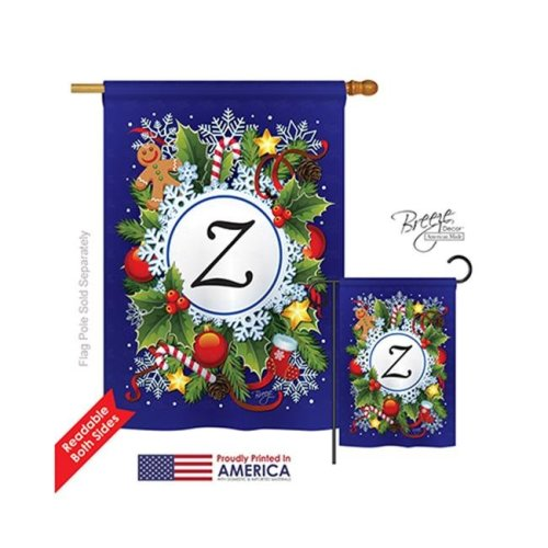 Breeze Decor 30104 Winter Z Monogram 2-Sided Vertical Impression House Flag - 28 x 40 in.
