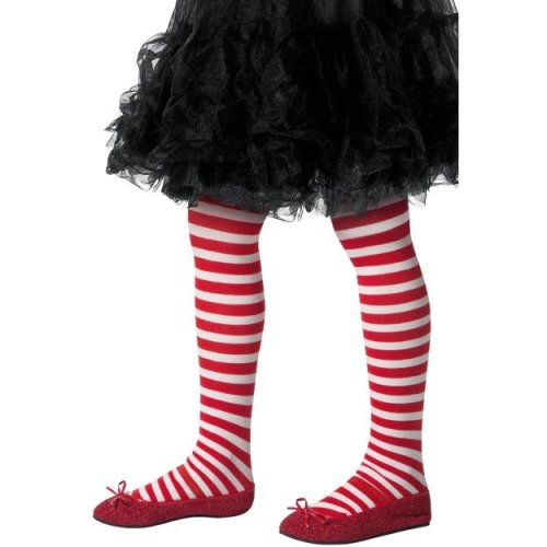 Striped Tights, Childs, Red & White - Girls Tights Stripe Ages 6 12 Years Fance -  girls tights stripe ages 6 12 years fance dress school clothing