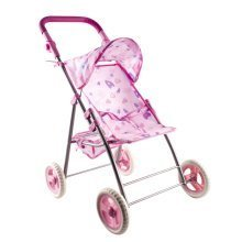 deAO Hearts Design Dolls Pram for Toddlers with Adjustable Handle and Washable Covers
