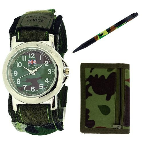 British Forces Gents-Mens Army Wallet, Pen & Velcro Strap Watch Gift Set BRF02