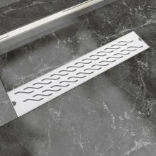 vidaXL Linear Shower Drain Wave 630x140 mm Stainless Steel