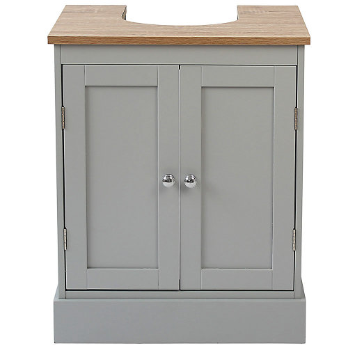 Two Tone Grey Wood Bathroom Double Door Under Sink Basin Storage Unit
