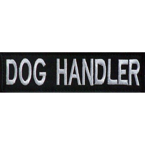 Embroidered DOG HANDLER Patch -Black-10 x 3cm