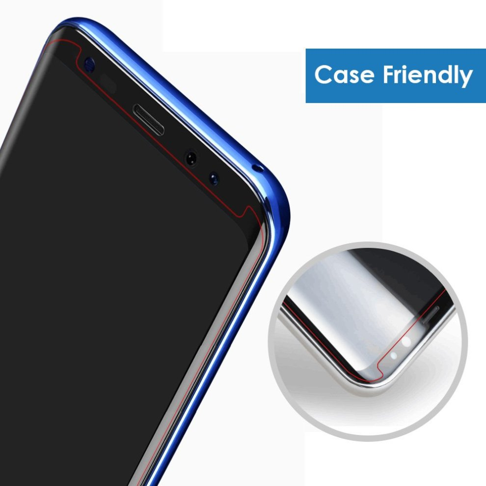 timeless design 15e2e b27b9 Alinsea Galaxy S8 Screen Protector Tempered Glass [3D Glass, Case Friendly]