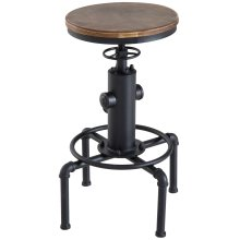 HOMCOM Vintage Industrial Bar Stool Height Adjustable Swivel Kitchen Dining Stool Chair Round Natural Pinewood Seat Metal Footrest (Type F)