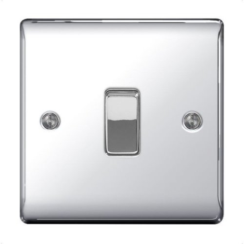 PACK OF 5 X BG-Nexus-Metal 10A Single Light Switch,Polished Chrome Finish