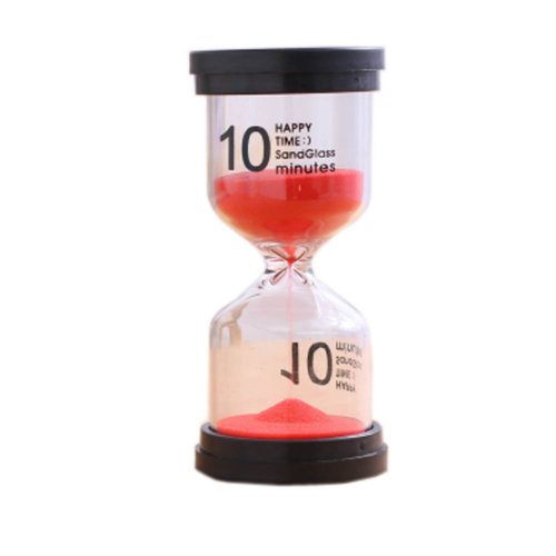 Colorful Sand Timer Hourglass Sandglass Small Ornaments Dropping Ueasily, 10 minutes + Red