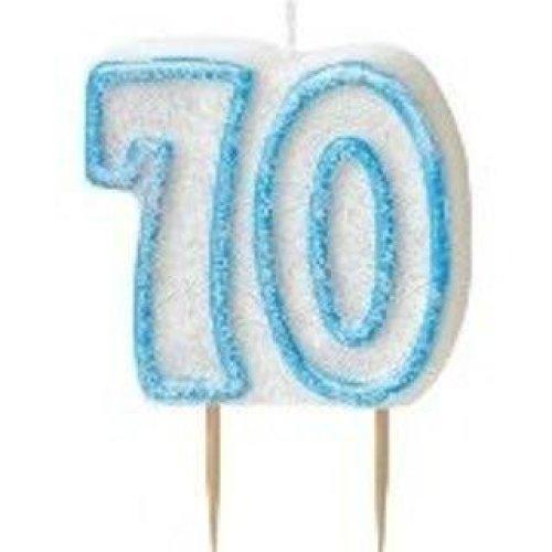 Age 70 Birthday Candle Blue Glitz