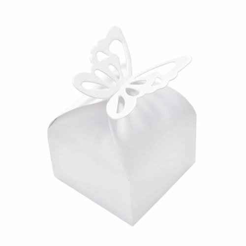 JZK 50 x Pearlly White Butterfly Party Wedding Favour Boxes Gift Box for Favours Sweets Confetti Jewelry for Wedding Birthday Baby Shower Baptism...