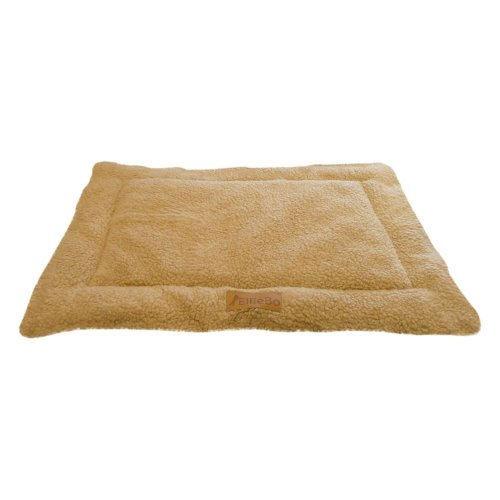Ellie-Bo Sherpa Fleece Mat Bed in Beige - Fits Medium 30 Inch Cages and Crates