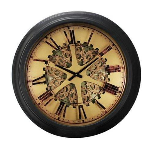 A&B Home 40050 26 x 3 in. Classic Gears Wall Clock, Black