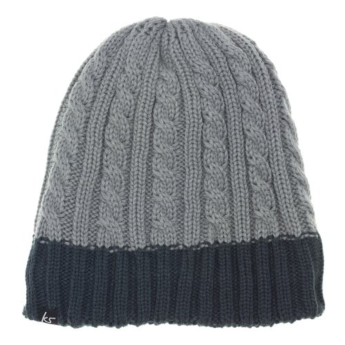 KitSound Audio Chunky Cable Knit Beanie for iPod, iPhone, iPad Mini and MP3 Player - Grey Ink