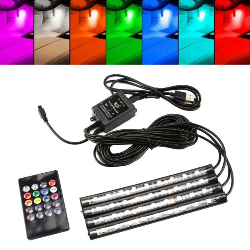 4x 9LED RGB Car Interior Atmosphere Footwell Strip Light USB Charger Decor Lamp