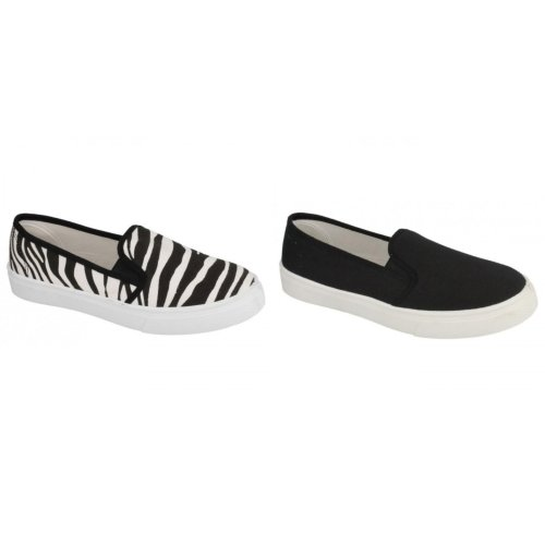 Spot On Womens/Ladies Injection Twin Gusset Slip On Canvas Shoes