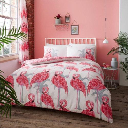 Pink Flamingo Duvet Cover Bedding Set
