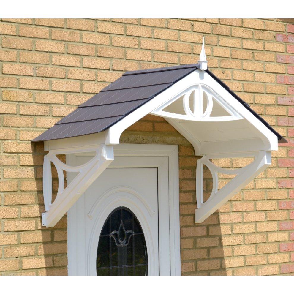 Simple Wooden Door Awning Vintage Construction: White Rockingham Door Canopy