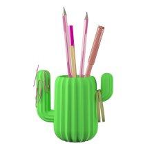Mustard Pen Holder Desktop Organiser - Green Cactus -  cactus desktop organiser mustard pen holder green